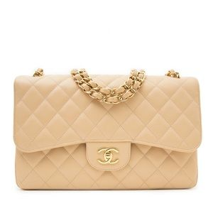Auth CHANEL Claire Beige Caviar Jumbo Double Flap